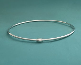 Rain Bangle Bracelet in Sterling Silver, Water Droplet, Modern, Organic, Recycled Sterling Silver