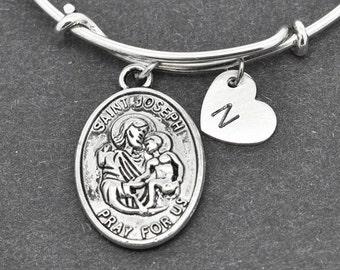 St Joseph Bangle, Sterling Silver Bangle, St Joseph Bracelet, Bridesmaid gift, Personalized Bracelet, Bridesmaid Gift, Initial Bracelet