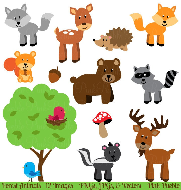 forest animal clip art forest animals clipart woodland rh etsy com clip art of animals for the edges of doors clipart of animals reading