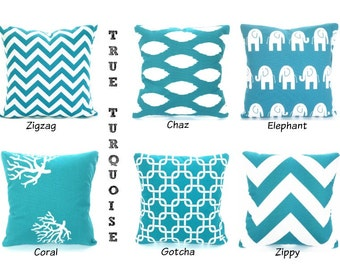 Turquoise Pillow Covers, Decorative Throw Pillow,  Cushion Covers, True Turquoise Aqua White, Sofa Bed, One or more ALL SIZES Mix & Match