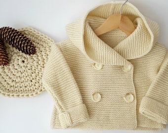 Baby hooded cardigan, Hand Knit baby coat, Hooded children's Jacket, Hooded cardigan, Children's knitted clothes, Handmade baby coat,
