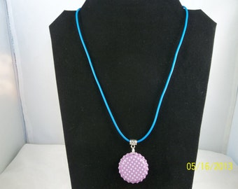 Lavender Polka Dot Bottle Cap Necklace