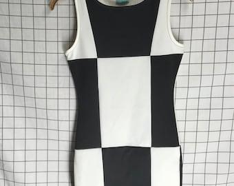 Vintage Groovy B&W Checkered Colorblock Mini Dress