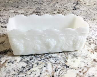 Fire King Milk Glass Container, Rustic Farmhouse White Home Decor, Vintage 60s Anchor Hocking Rectangle Planter, Grapes and Leaves Pattern