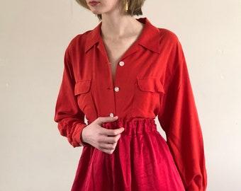 vintage silk blouse / red silk blouse / vintage silk shirt pocket shirt | s m l