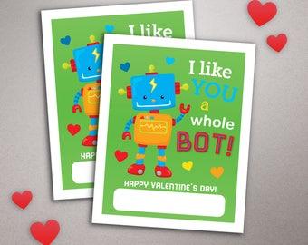 Robot Valentine card, I like you a bot, School Valentine, Printable Valentine's Day Card, Classroom Kid's valentine card