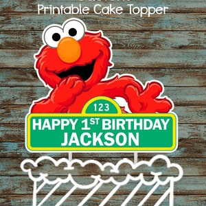 Printable Elmo Cake Topper, Custom Elmo Centerpiece, Elmo Birthday Party Decorations, Elmo Party Supplies, Sesame Street Elmo Cake Topper
