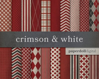 Crimson Digital Paper - Red Digital Craft Paper - Chevron Digital Paper - Plaid Digital Paper - Instant Download - 20 Sheets