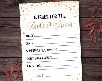 Wishes for the Bride and Groom, Advice for the Bride and Groom Cards, Wishes for the Bride and Groom Cards, Printable, Instant Download