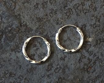 Silver Hoops, Silver Hoop Earrings, Mini Hoops, Hoop Earrings, Sleeper Hoops, Twist Hoops, Everyday Earrings, Sterling Silver, 925