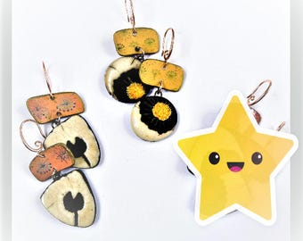 Raku Flower Earrings