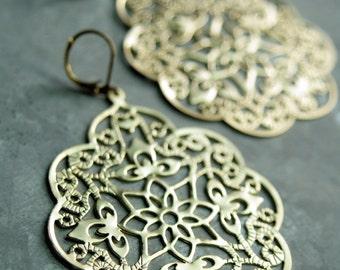 Big Gold Chandelier Earrings, Gold Filigree Drop Earrings, Matte Gold Earring, Chandelier Dangle Earrings, Large Chandelier Earrings