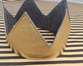 Gold Leather and Wool Felt Reversible Crown, 12-18m, 2T, 4T and Adult Sizes