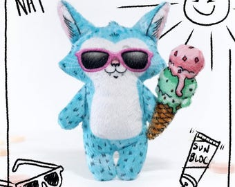 Nat in Summer - Illustrated cat doll  - Soft Minky plush stuffed animal toy and play ice cream cone