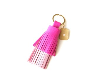 Leather tassel keychain, Two tones Pink leather tassel,Key chain,Leather bag charm,Leather tassel charm,Leather tassel key fob, Gift for her