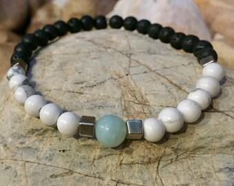 Handmade aquamarine and white howlite gemstone diffuser bracelet