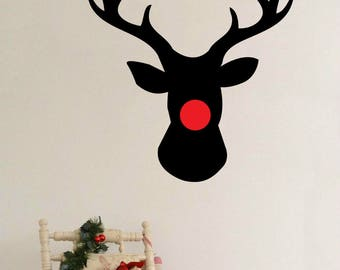 Christmas Reindeer Rudolph Antlers Red Nose, Wall Sticker, Vinyl Decal