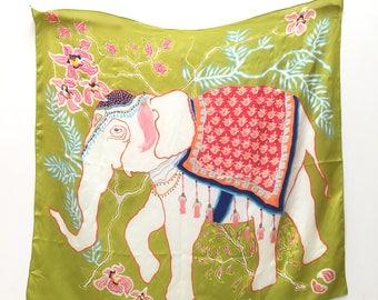 Elephant on Green Silk Scarf