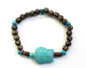 Turquoise Stone Sea Turtle Focal Bead Bracelet. Wood Beads. Hypoallergenic. Dark Brown Wood Sea Turtle Bracelet