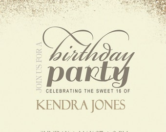 Sweet Sixteen Gold Party Invitation