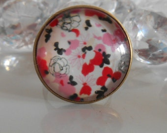 Bronze ring 'flowers Japanese' glass cabochon