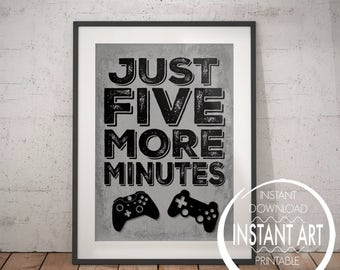 Video Game Controller Print - Just Five More Minutes - PS4 - PS4 Poster - playstation decor - Xbox controller - PS4 Controller - Video Game
