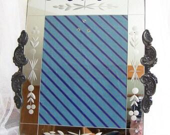 Mirrored Frame / 6 x 8 Frame / Etched Mirrored Frame / Hollywood Regency Picture Frame / Table Frame / Ornate Vintage Frame / Easel Frame