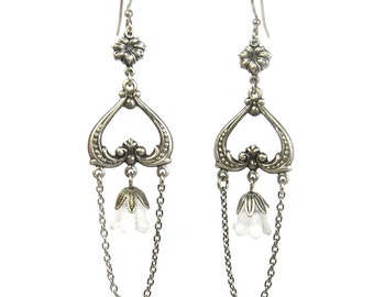 Neo Victorian Bellflower Earrings Chandelier Style with Lucite Flower Blossoms by Nouveau Motley