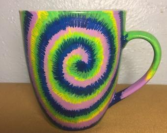 Tie dye handpainted mug