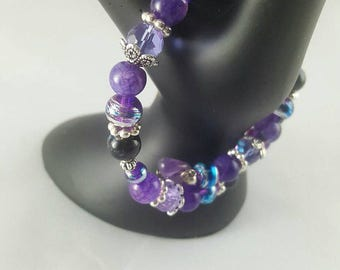 Amethyst Birthstone Beaded Coil Bracelet with Metal and Glass beads