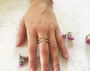 Coyote ring, silver spike ring, pointed ring, minimalist statement piece, tusk ring, boho ring, gift for her, ring set