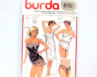 Burda 6157 Misses Full Slip Camisole Panties Teddy & Thong Multi Size US 8-22 EUR 34-48 Lingerie Unopened Pattern 1980s