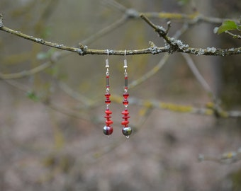 Unique Candy Red Coral Earrings