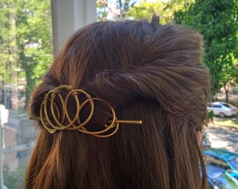 Hair Accessories  Brass Hair slide, Metal Hair Clip, Unusual Gift For her, Hair clips women, Hair Slide with Stick, Womens hair barrette