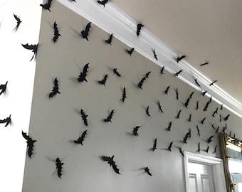 Black Bats, Halloween Bats, Wall Bats, Card stock Bats, Cut-outs, Halloween Wall Decorations, Paper Bats, Party Decor, Halloween Decor,