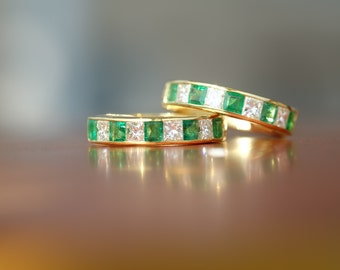 Custom Design Emerald and Pincess Diamond earrings [EL0002]