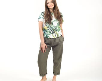 Women linen pants , womens linen trousers , organic linen clothing , summer pants , loose fitting pants , made on measure
