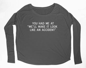 """Ladies """"Accident"""" Flowy Long Sleeve Tee with 2x1 Ribbed Sleeves"""