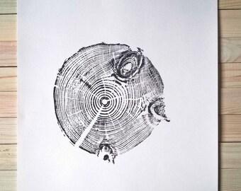 Tree print, Tree Ring Print, Rustic Print, Original Handmade Print of Small Pine Tree, Rustic posters