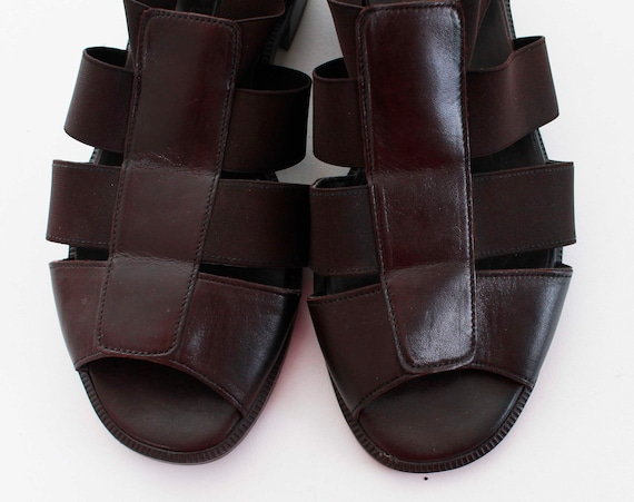 Eur38 Size Shoes USA Women's Heel Block Sandals 90's Stretch in Shoes Strappy Fisherman 5 Vintage Brown US7 Elastic 5 5 the 7 Made UK5 qSpWcfSA