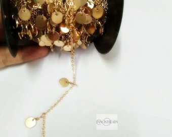 Fabulous gold dangling coin chain 10 feet unique  disc coin chain  raw solid brass dotted chain-F179JIN