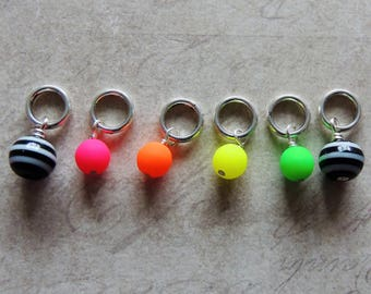 Neon and stripes retro stitch marker set 80s black and white Pink Green Yellow Orange