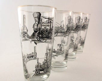 Mid Century Drinking Glasses / Railroad / Train / Libbey / Barware / Four 14 oz / Collectible