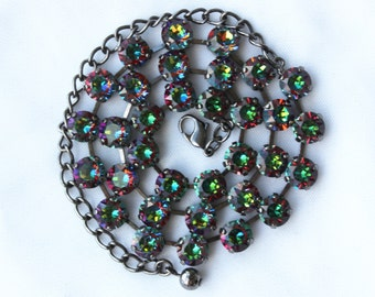 Vitrail Medium 8mm Swarovski Crystal Necklace - Available in Antique Silver, Brass, Black, and Shiny Silver Finishes