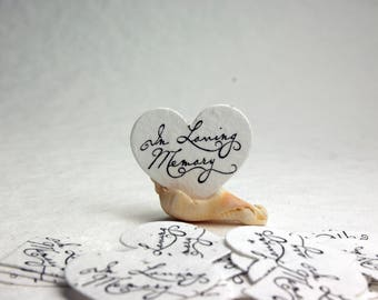 """In Loving Memory Seed Paper Hearts 1.75"""" x 1.5"""" - Set of 15 - for Celebrations of Life and Memorials"""