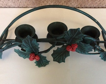 Vintage Green and Red Metal Christmas Candle Holder w Holly and Red Bell Berries, 3 Taper or Candle cups , Metal , Table top, Centerpiece