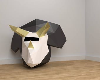 Triceratops Mask Papercraft Dinosaur, make your own polygon mask, Low Poly dinosaur mask, Instant Download, Home Decor, Costume Party Gift