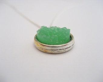 Green Druzy Necklace,  Green Faux Druzy Necklace,  Druzy Necklace,  Choose Your Chain, Druzy Jewelry