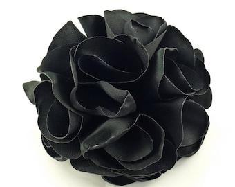 Fabric flower synthetic diameter 8cm - black