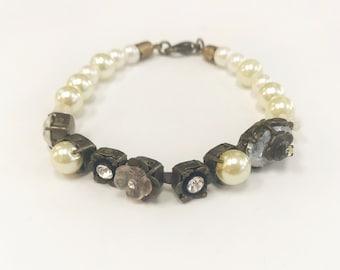 Faux Pearl and Rhinestone Bridal Bracelet